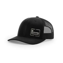 BANDED SIGNATURE TRUCKER SIDE LOGO CAP BLACK/CHARCO