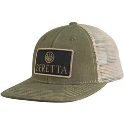 BERETTA FLAT BILL PATCH TRUCKER HAT OLIVE/KHAKI