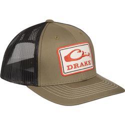 DRAKE SQUARE PATCH MESH BACK CAP LODEN/BLACK