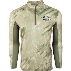 DRAKE SHIELD L/S ARCHED MESH BACK 1/4 ZIP RT_CRAPPIE/OLIVE