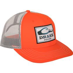 DRAKE FISHING SQUARE PATCH MESH BACK CAP ORANGE/WHITE