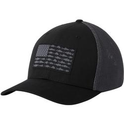 COLUMBIA PFG MESH FISH FLAG BALL CAP BLACK/GRAPHITE