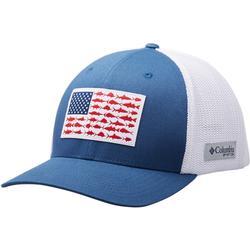 COLUMBIA PFG MESH FISH FLAG BALL CAP NIGHT_TIDE/WHITE
