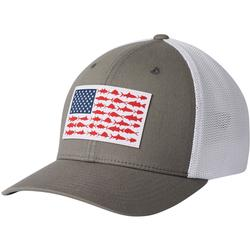 COLUMBIA PFG MESH FISH FLAG BALL CAP TITANIUM/WHITE