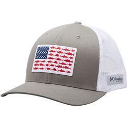 COLUMBIA PFG MESH SNAP BACK FISH FLAG BALL CAP TITANIUM/WHITE