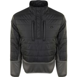 DRAKE TWO-TONE SYNTHETIC DOUBLE-DOWN 1/4 ZIP BLACK/CHARCOAL