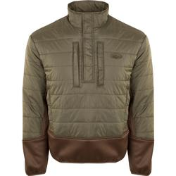 DRAKE TWO-TONE SYNTHETIC DOUBLE-DOWN 1/4 ZIP OLIVE/BROWN