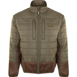 DRAKE TWO-TONE SYNTHETIC DOUBLE-DOWN FULL ZIP OLIVE/BROWN