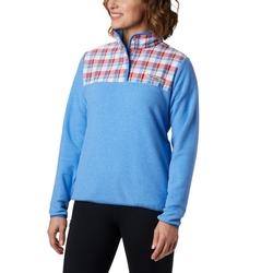 COLUMBIA W`S HARBORSIDE II OVERLAY FLEECE PULLOVER HARBOR_BLUE_HEATHER