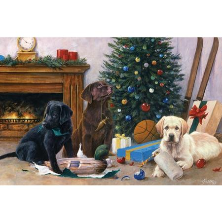 RIVER`S EDGE CHRISTMAS MORNING PUPS LED PRINT