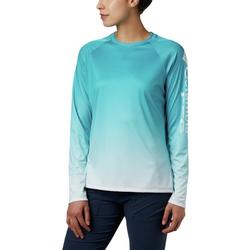 COLUMBIA W`S SUPER TIDAL L/S TEE CLEARWATER/GRADIENT