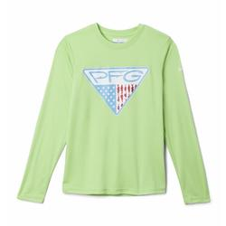 COLUMBIA YTH TERMINAL TACKLE TRIANGLE L/S JADE_LIME/FLAG