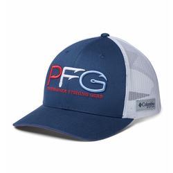 COLUMBIA PFG MESH SNAP BACK HOOKS BALL CAP CARBON/WHITE_RED