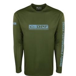 DRAKE SHIELD ARCHED MESH BACK L/S CREW VINEYARD_GREEN