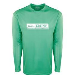 DRAKE DPF PERFORMANCE CREW L/S SHIRT BEVELED_GRASS