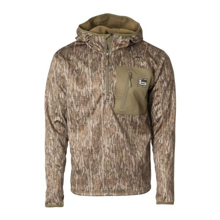 BANDED HOODED MID LAYER 1/4 ZIP