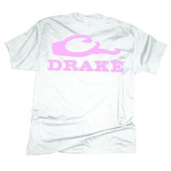 DRAKE DUCKHEAD LOGO S/S T-SHIRT WHITE/PAPINK