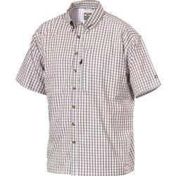 DRAKE S/S VENTED DELTA SHIRT BROWN