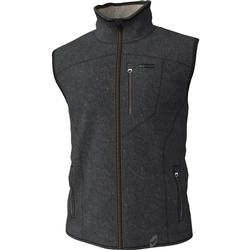 BANDED HEATHERED FLEECE LINED VEST CHARCOAL