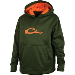 DRAKE YOUTH PERFORMANCE HOODIE GREEN/ORANGE