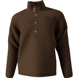 BANDED FIREPIT FLEECE HENLEY BROWN