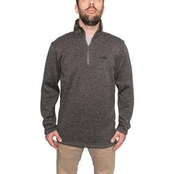 BANDED HEATHER FLEECE 1/4 ZIP CHARCOAL