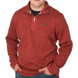 BANDED HEATHER FLEECE 1/4 ZIP RED_WOOD