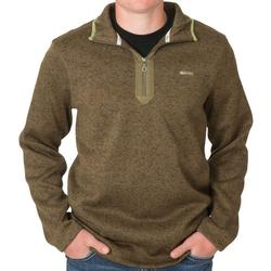 BANDED HEATHER FLEECE 1/4 ZIP SPANISH_MOSS
