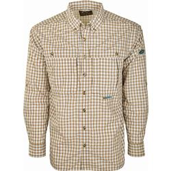 DRAKE FEATHERLITE PLAID L/S BROWN_PLAID